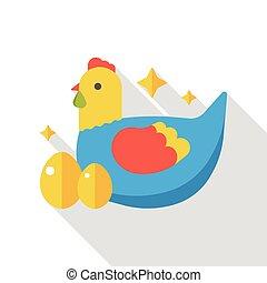 cartoon chicken flat icon