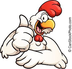 Cartoon chicken giving the thumbs up. Vector clip art...