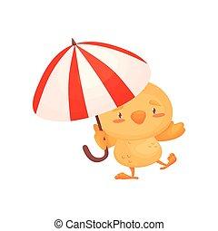 Cartoon chicken holding an umbrella. Vector illustration on white background.