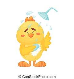 Cartoon chicken in the shower. Vector illustration on a white background.
