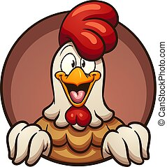 Cartoon chicken peeking out of a round hole. Vector clip art...