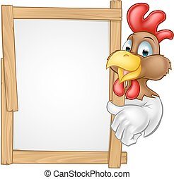 Cartoon Chicken Rooster Sign - A cartoon chicken rooster...