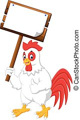 Cartoon chicken rooster - illustration of rooster holding...