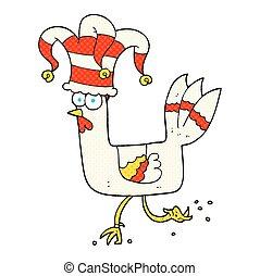 cartoon chicken running in funny hat