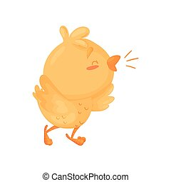 Cartoon chicken sings. Vector illustration on white background.