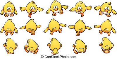 Cartoon chicken sprites, ready for animation. Vector clip...