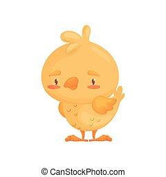 Cartoon chicken stands. Vector illustration on white background.