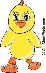 Cartoon chicken vector or color illustration