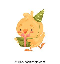 Cartoon chicken with a gift. Vector illustration on white background.