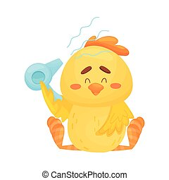 Cartoon chicken with a hairdryer. Vector illustration on a white background.