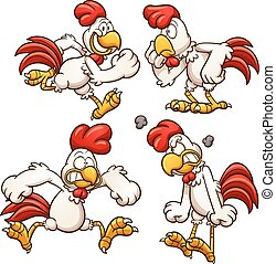 Cartoon chicken with different poses. Vector clip art...
