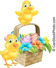 Cartoon Chicks and Easter Eggs Basket - Cartoon Easter...
