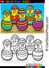 cartoon chicks in easter eggs coloring page