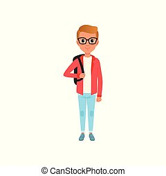 Cartoon child character in red jacket, white t-shirt and jeans. Boy with brown hair in glasses with backpack on shoulders. Stylish teenage clothes. Flat vector design
