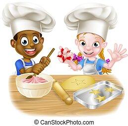 Cartoon Child Chefs Baking Cakes