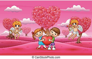 Cartoon child couple holding a big heart with cupid
