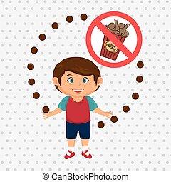 cartoon child fast food danger symbol