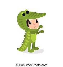 Cartoon child in funny crocodile costume. Boy or girl character wearing animal festive suit. Children party. Flat vector design for kindergarten or kids club poster