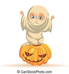 Cartoon child in Halloween dresses flat poster