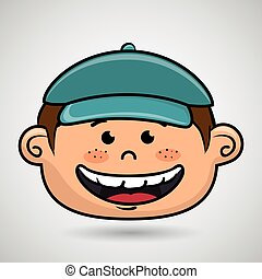 cartoon childhood face icon