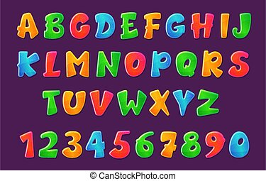 Cartoon childish comic font of colorful letters vector illustration isolated.