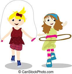 cartoon children activity - two children playing skipping...
