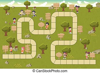 cartoon children and wooden sign boards - Board game with a...