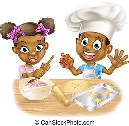 Cartoon Children Bakers - Cartoon boy and girl kids dressed...