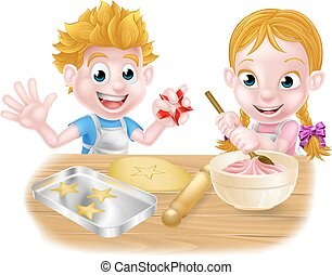 Cartoon Children Baking