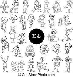 cartoon children black and white set