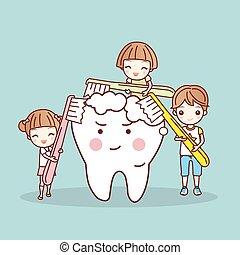 cartoon children brushing white tooth