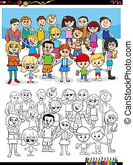 cartoon children characters group coloring book page