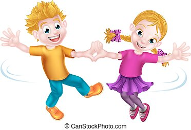 cartoon kids dancing two young cartoon children dancing rh canstockphoto com child dancing clipart black and white People Dancing Clip Art