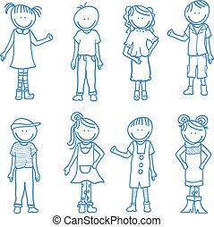 cartoon children doodle
