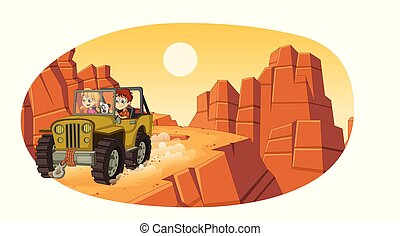 Cartoon children driving a car on the canyons.