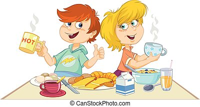 Cartoon children eating a breakfast