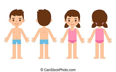 Cartoon children front and back