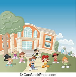 cartoon children in front of school