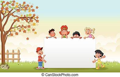 cartoon children in front of white board.