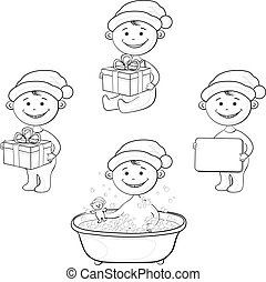 Cartoon children in Santa hat, outline