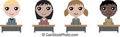 Cartoon children in school board