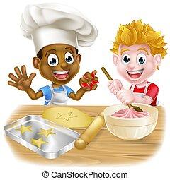 Cartoon Children Making Cakes