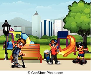 Cartoon children playing in the city park