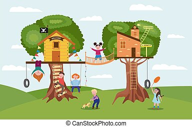 Cartoon children playing together on fun tree house playground