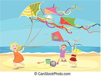 cartoon children playing with kites on the beach