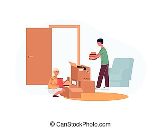 Cartoon children putting stuff in cardboard boxes for moving day