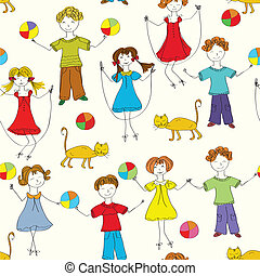 Cartoon children seamless pattern in bright colors