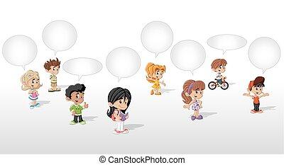 Cartoon children talking