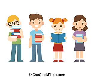 Cartoon children with books