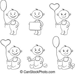 Cartoon children with toys, outline